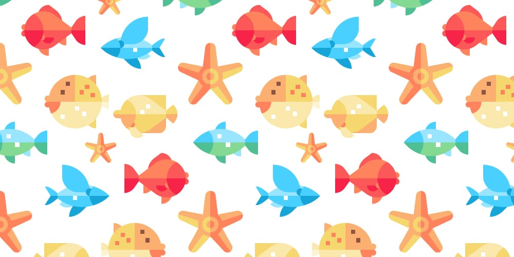 Colorful Fish Seamless Patterns