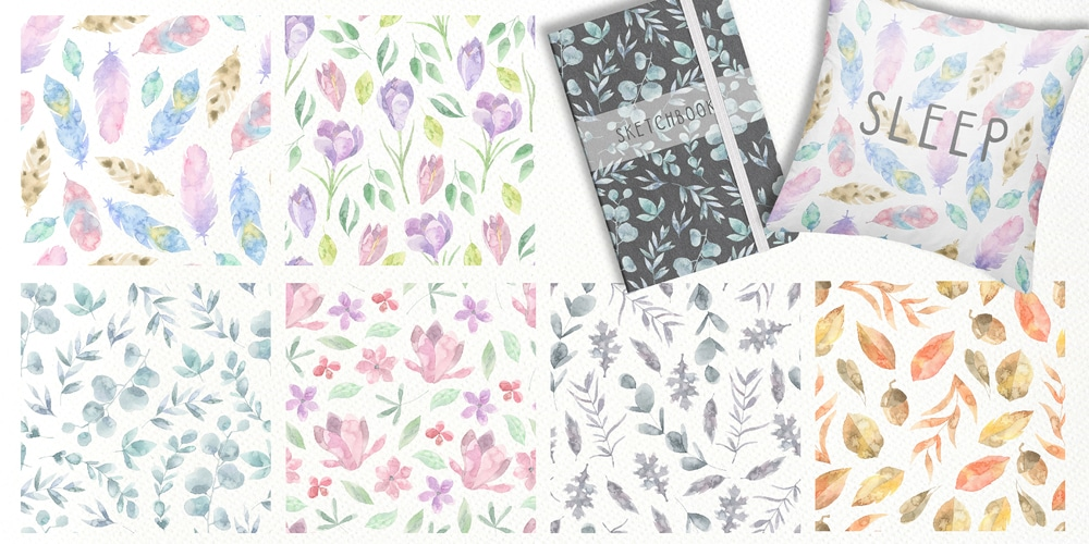 Floristic Seamless Watercolor Patterns