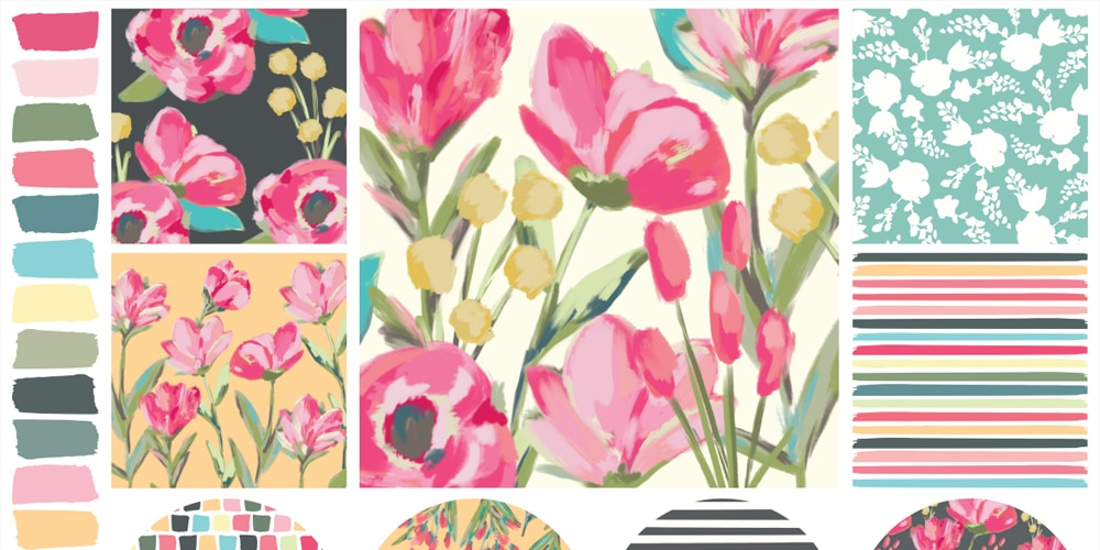 Free Hand Painted Floral Patterns