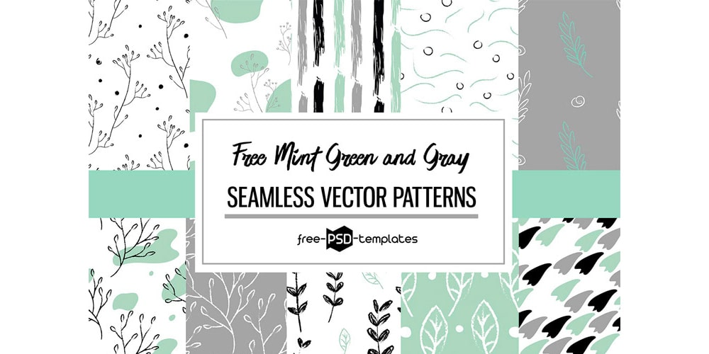 Free Mint Green and Gray Vector Patterns