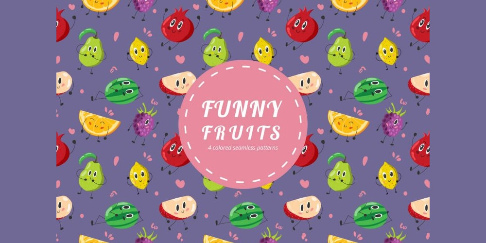 Funny Fruits Vector Pattern