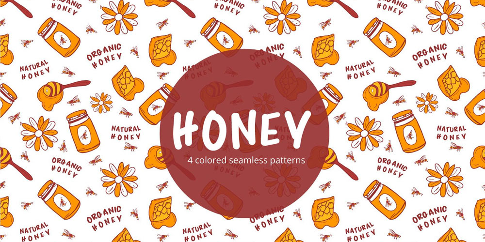 Honey Vector Seamless Pattern