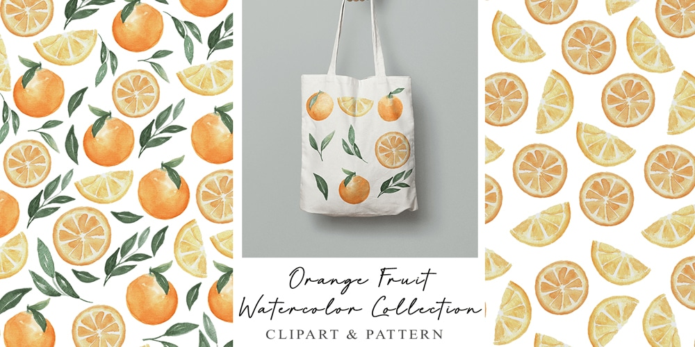 Orange Fruit Watercolor Patterns