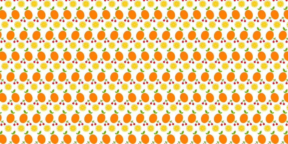 Oranges and Cherries Seamless Vector Pattern