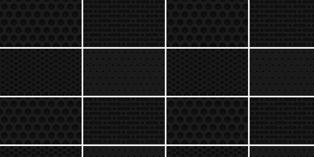 Seamless Dark Metal Grid Patterns