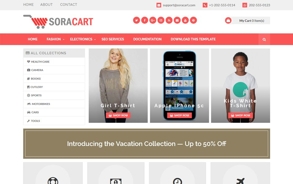 Sora Cart Responsive Blogger Template
