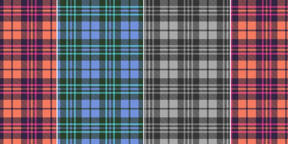 Stitched plaid seamless pattern