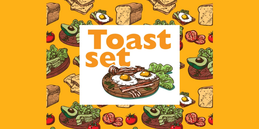 Toast set seamless patterns