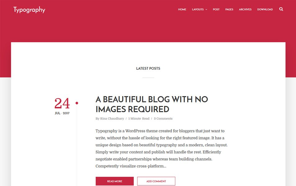 Typography Responsive Blogger Template