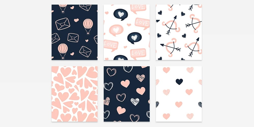 Valentines Day Pattern Set
