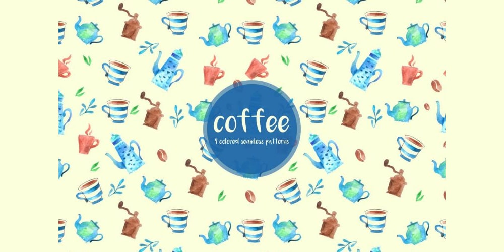 Watercolor Coffee Pattern