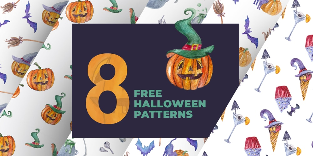 Watercolor Halloween Seamless Patterns