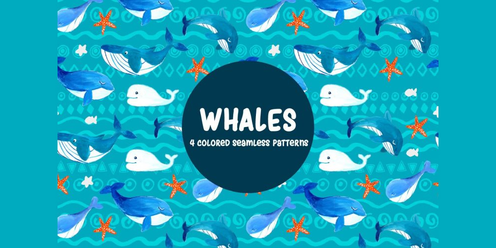 Whales Illustration Vector Pattern