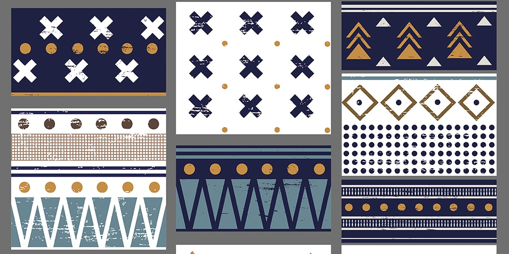 blue and white geometric patterns