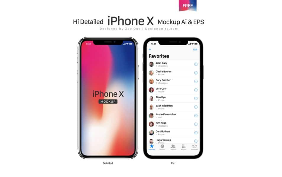 Free Apple iPhone X Mockup Ai & EPS