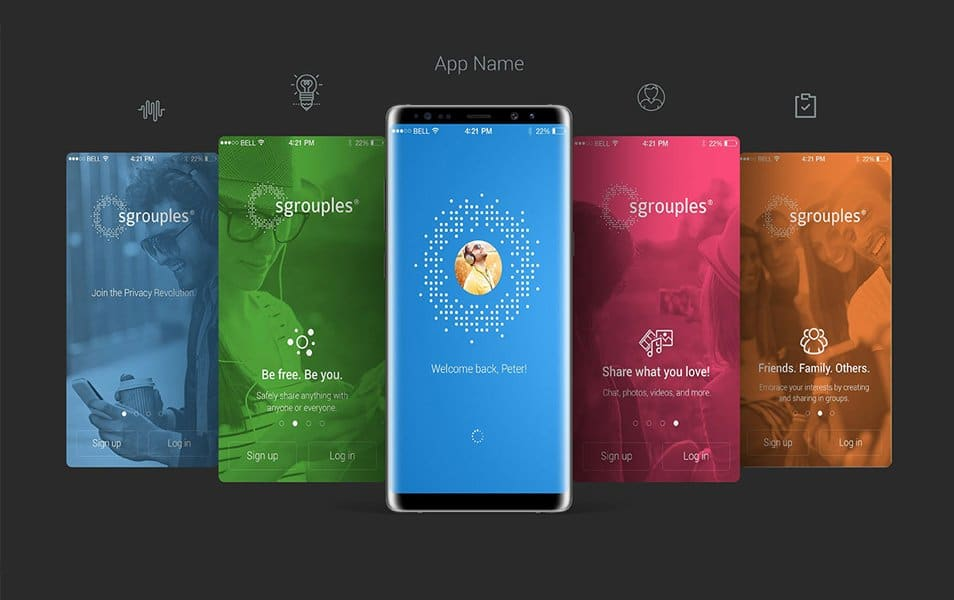 Free Samsung Galaxy Note8 App Screen Mockup PSD
