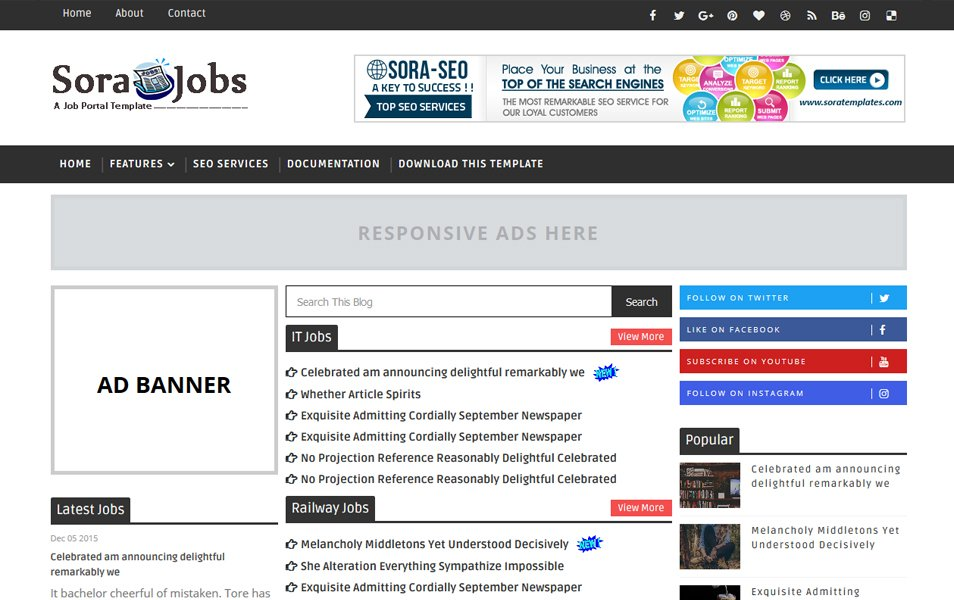 Sora Jobs Responsive Blogger Template