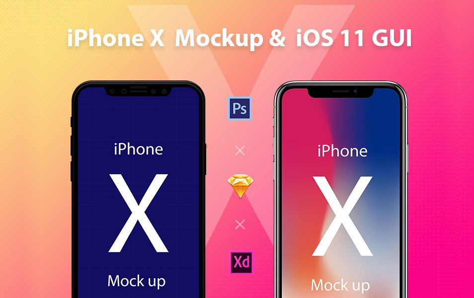 iPhone X Mockup & iOS 11 GUI
