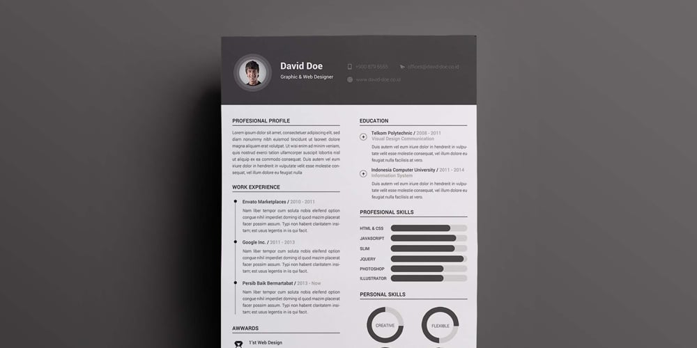 2 Column Resume Template PSD