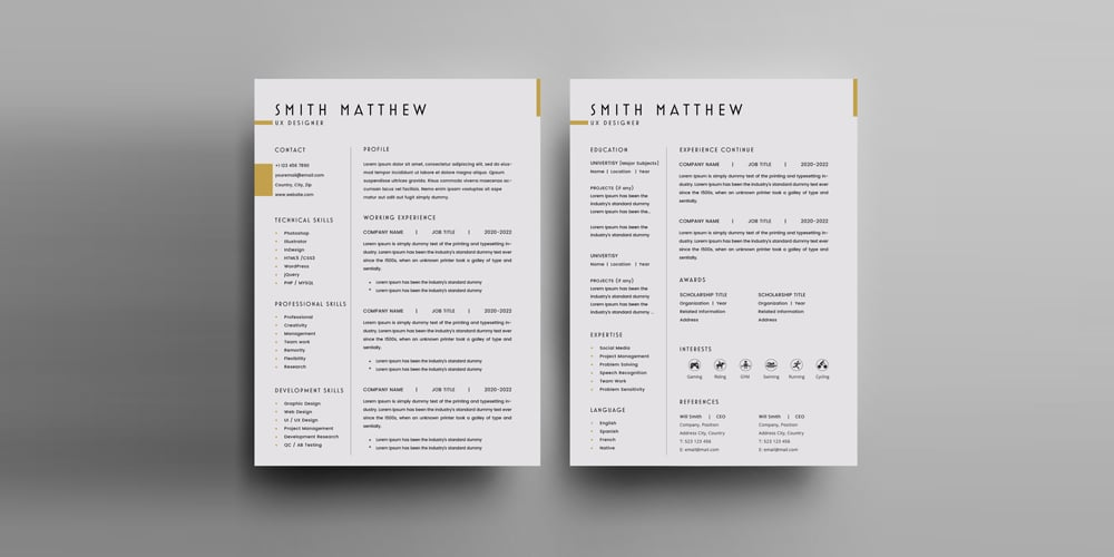 2 Pages CV Resume Template