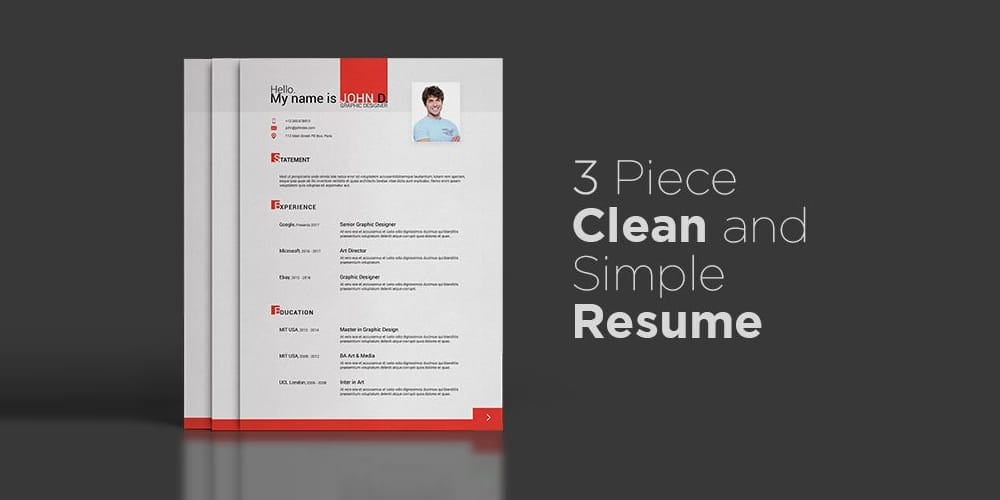 3 Piece Clean Simple Resume Template