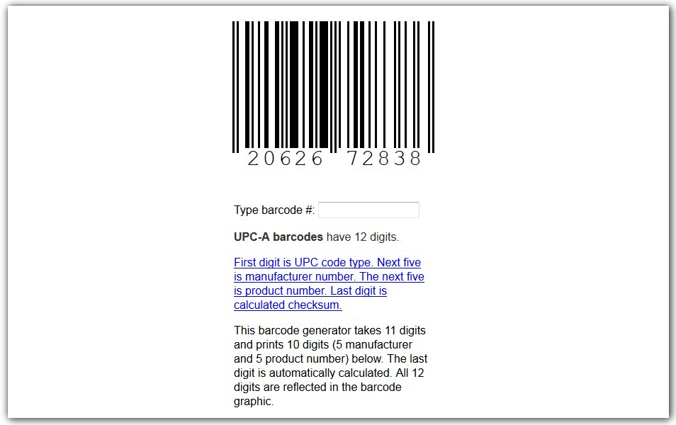 CSS Barcode (UPC-A) Generator