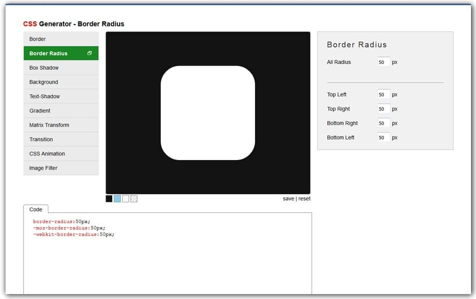 CSS Border Radius Generator | Angrytools