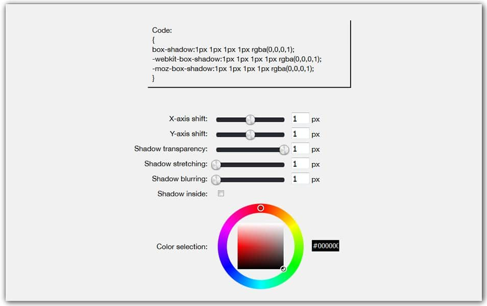 CSS Box Shadow Online Generator