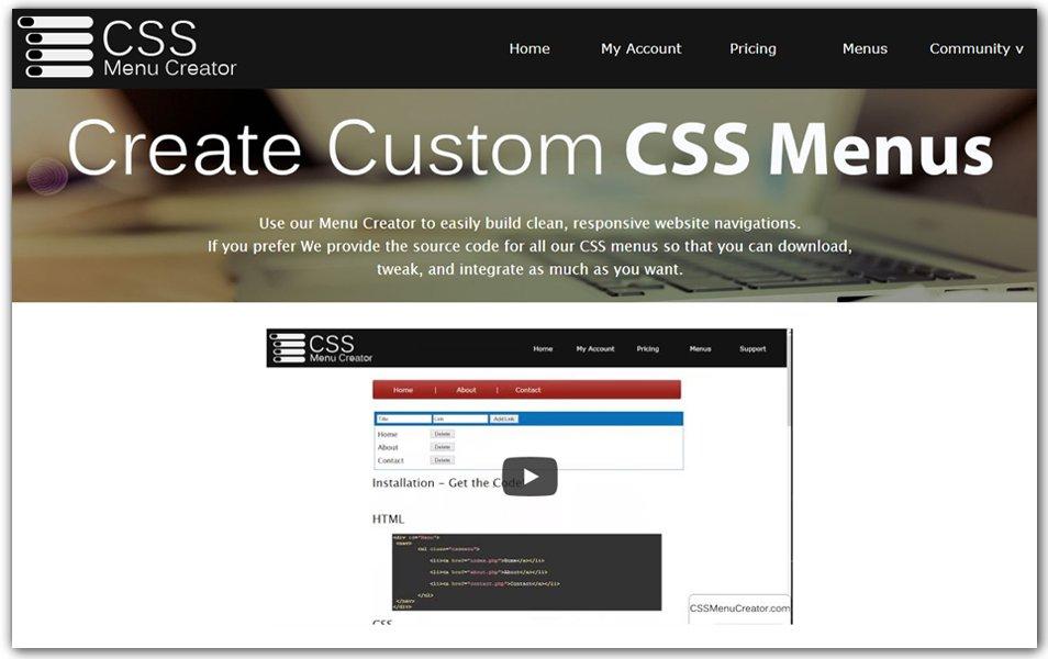 CSS Menu Creator