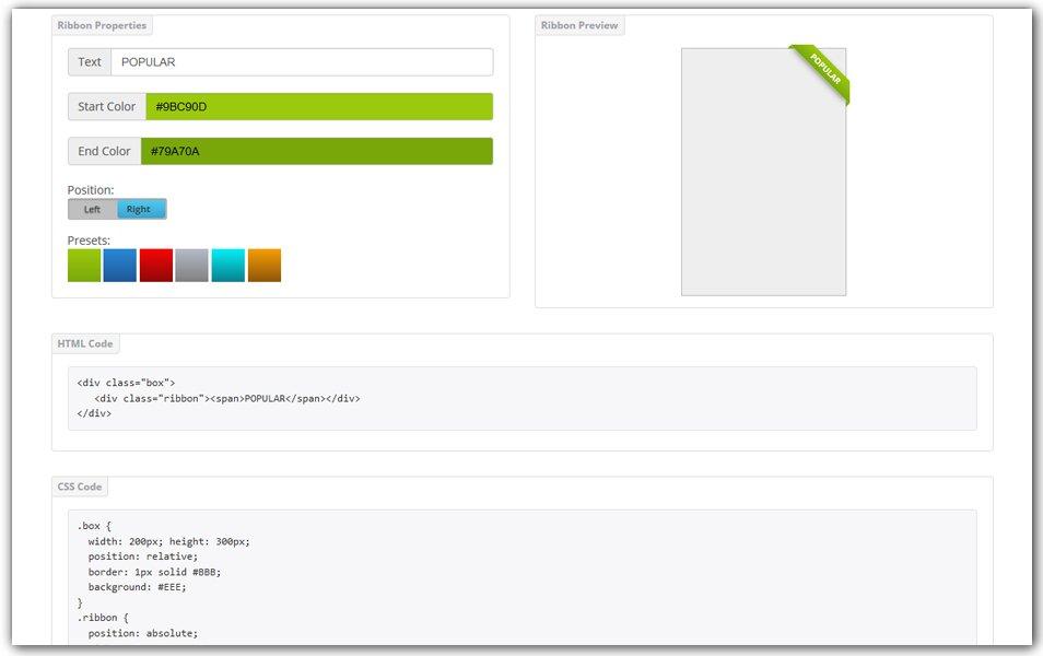 CSS Ribbon Generator | CSS Portal