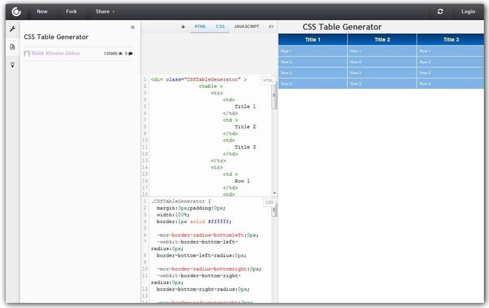 CSS Table Generator | CSSDeck