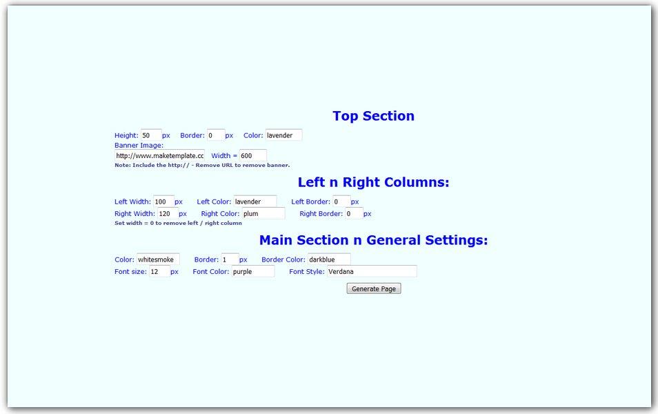 CSS Template Code Generator