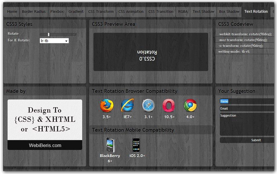 CSS Text Rotation | CSS3 Maker