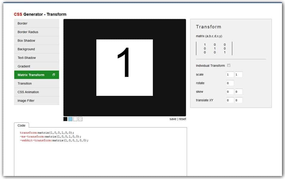 CSS Transform Generator | AngryTools