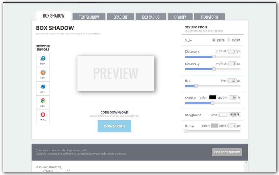 CSS3 Drop Shadow Generator | CSS3 Studio