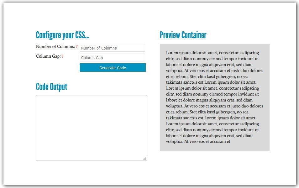 CSS3 Multiple Columns Generator | HTML5/CSS3 Box