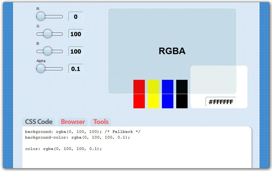 CSS3 RGBA Generator