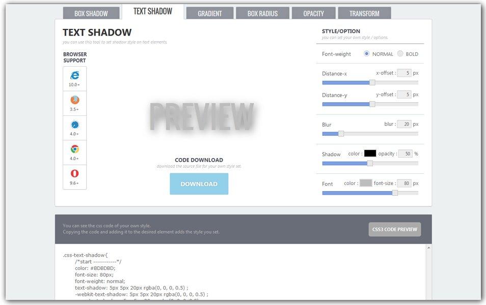 CSS3 Text Shadow Generator | CSS3 Studio