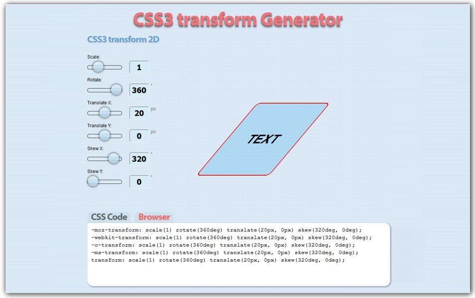 CSS3 Transform Generator | CSS3 Generator