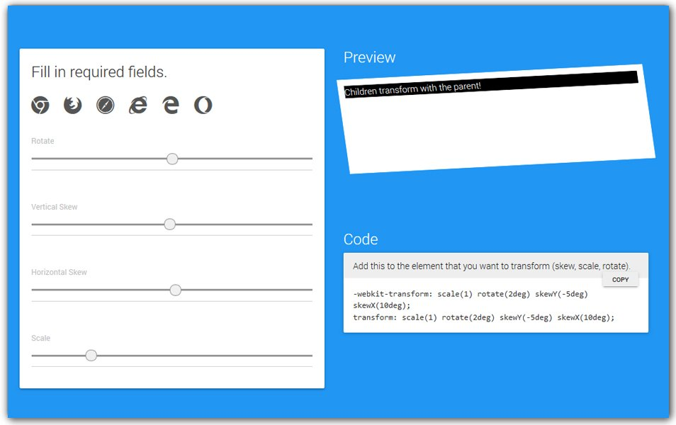 CSS3 Transform Generator | Webcode Tools