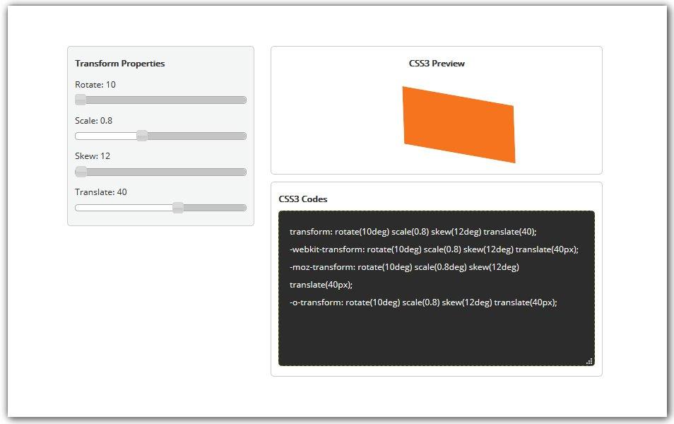 CSS3 Transform Generator