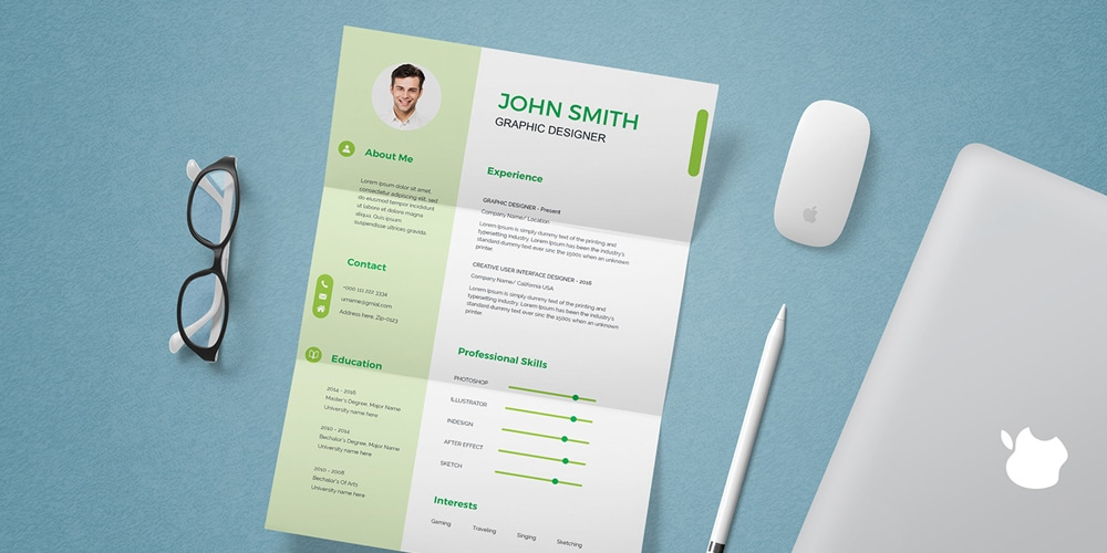 CV Resume Template and Mockup
