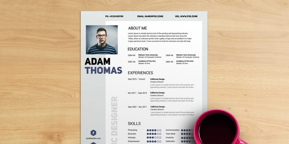 Clean Resume CV PSD