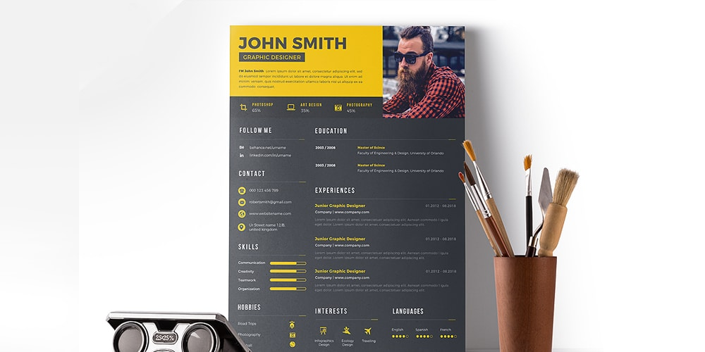 Clean Resume Design PSD