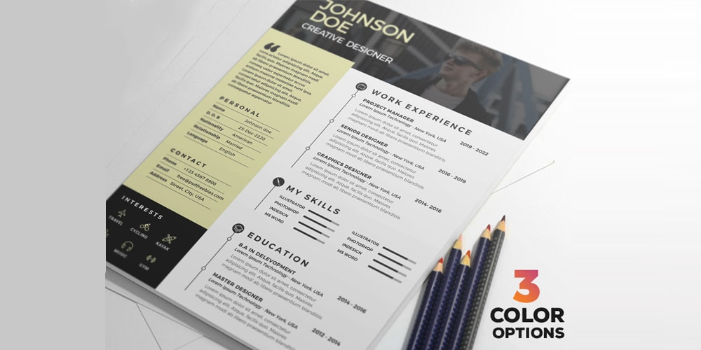 Clean Resume Design Template PSD