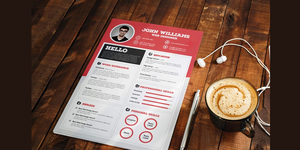 Clean and Sharp Resume CV Template PSD
