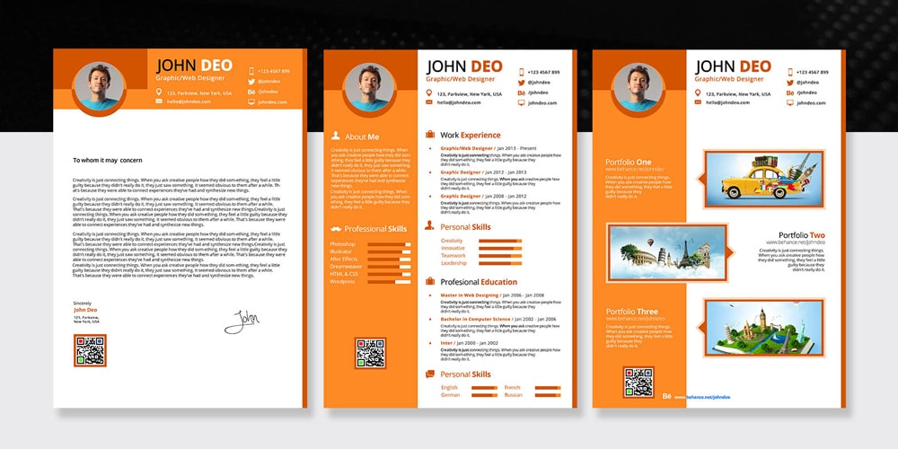 Creative 3 In 1 Resume Template PSD