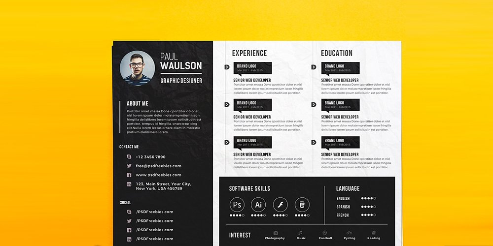Creative Horizontal CV Resume Template PSD