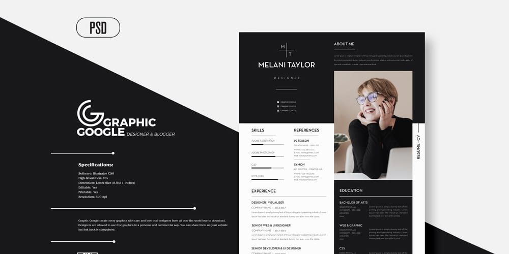 Creative Modern CV Resume With Cover Letter For Designers