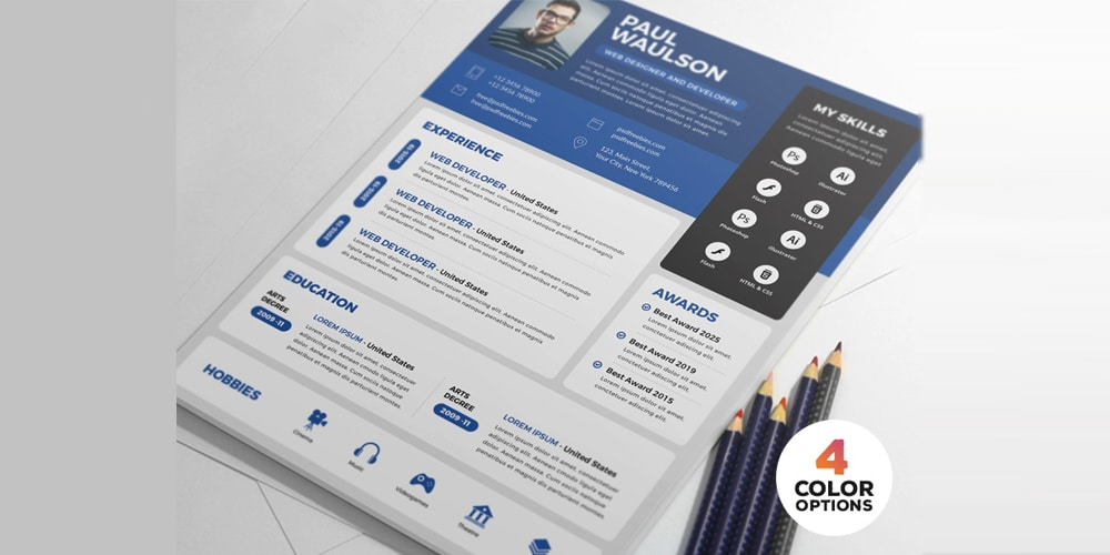 Creative Resume CV Design PSD